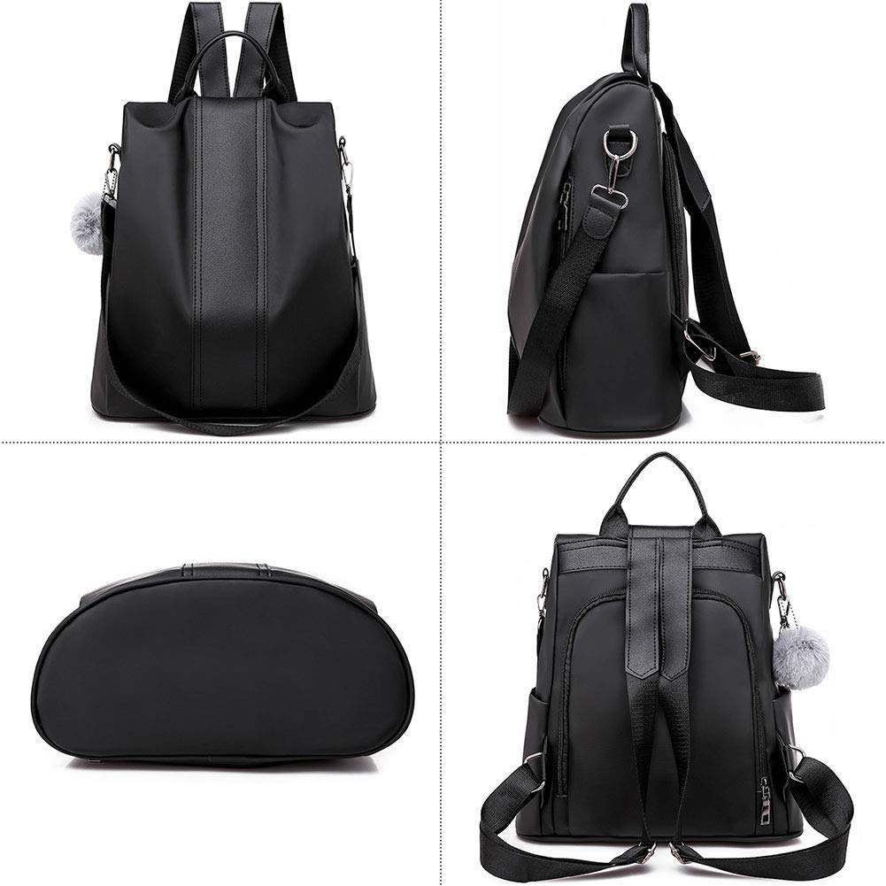 Womens Nylon Backpack Anti-theft Travel Convertible Shoulder Bags