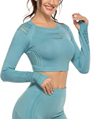 INSTINNCT Long Sleeve T-Shirt Yoga Crop Tops Seamless Hollow Out Tight Fitness Workout for Women