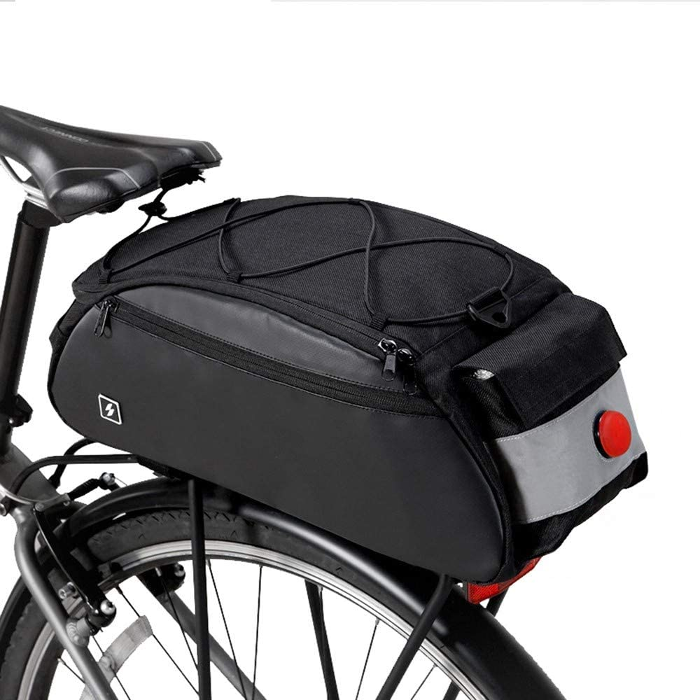 Bolsa de la cola de la bici, bolsa de bicicleta silla de montar bolsa trasera Ciclismo bicicleta asiento trasero 10L 600D impermeable con luz