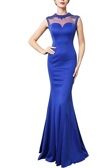 KAXIDY Elegante Donna Vestito Lungo Abito da Sposa Lungo Abito da Sera Vestito  Cerimonia  Amazon.it  Abbigliamento 4b144a26346f