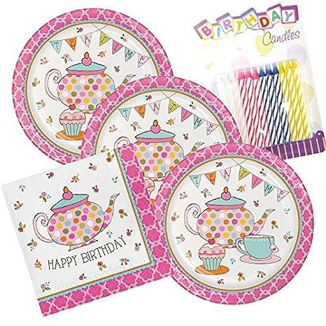 Amazon.com: Tea Time Feliz cumpleaños Tema Platos y ...