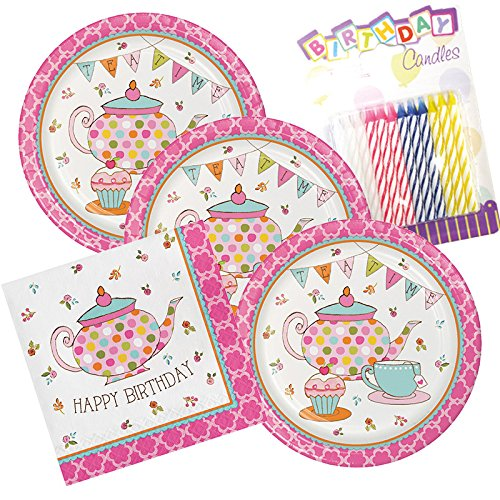 JJ Party Supplies Tea Time Happy Birthday Theme Plates and Napkins Serves 16 with Birthday Candles -