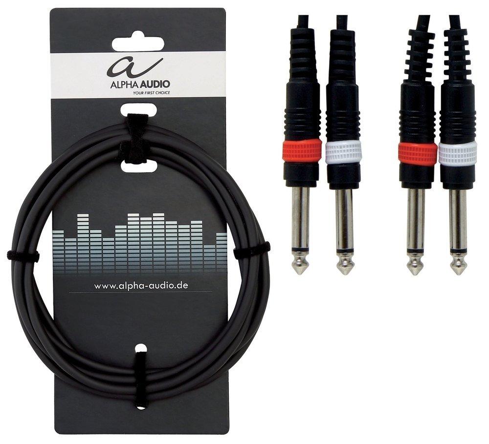 Alpha Audio 190175 Basic Line Double c/âble 3 m 2 x 6,3 mm Jack Mono Noir