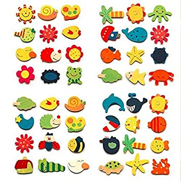 Craftdev Colored Wooden Cartoon Or Nature Theme Fridge Magnets - Set Of 40