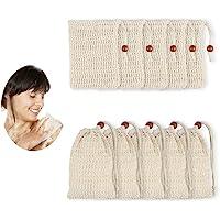 Dadabig 10 PCS Sisal zeepzak, organische zeepzak Natuurlijke vezelzeepzakken met trekkoord voor baddouche, peeling en…