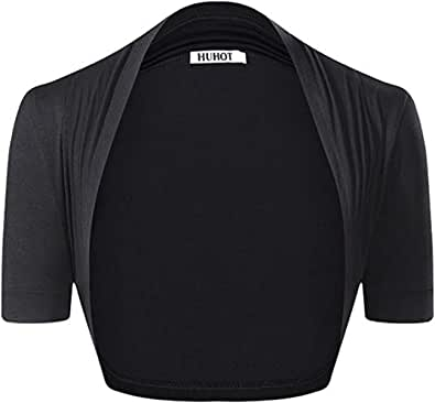 HUHOT Womens Versatile Open Front Lightweight Short Sleeve Bolero Shrug