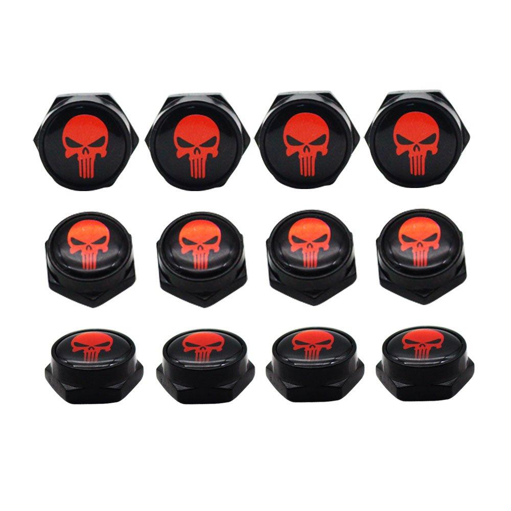 Dsycar Chrome Metal Skull Logo Anti-theft Car License Plate Bolts Frame Screws,Pack of 4 Black Red