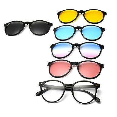 GreeSuit Gafas de sol con lentes 6 en 1 anteojos de metal con montura con clip antideslumbrante magnético lentes de conducción gafas de sol gafas ...