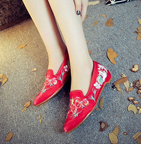 Embroidery Mules Dress Flat Womens Floral AvaCostume Red Shoes Party Satin qW1tnTpwxU