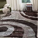 Home Shimmer Shag Beige Tan Vanilla Ivory Cream Brown Mocha Area Rug, Hand-Tufted, Hand Made ~5 ft' x 7 ft' ( Signature BLD 289 Beige ) For Sale