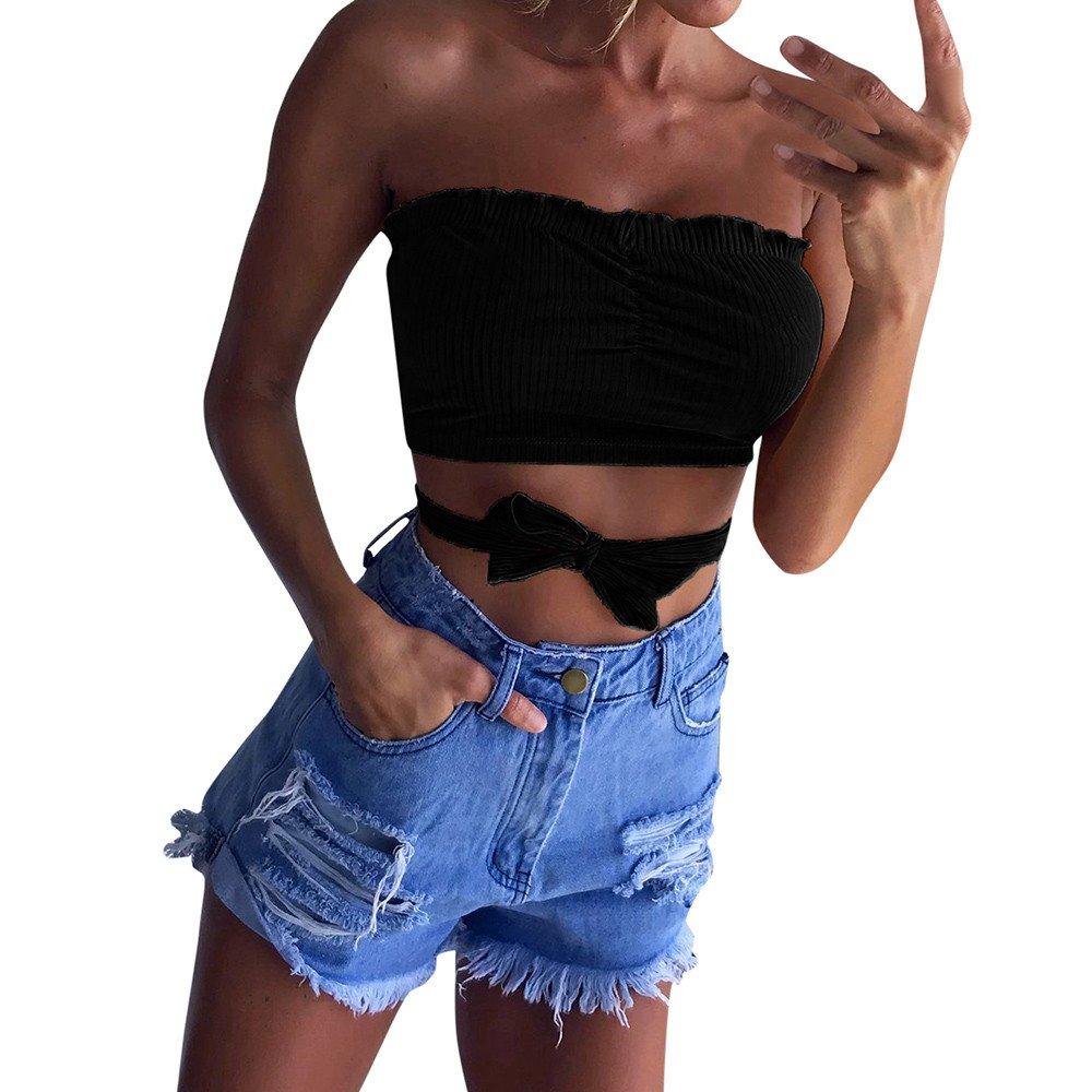 Handyulong Women Strapless Elastic Boob Bandeau Tube Tops Bra Lingerie Breast Wrap (Black#1, L)