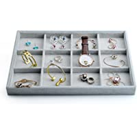 "Oirlv Velvet Jewelry Display Tray 1.3"" Deep Stackable Jewelry Drawer Organizer"
