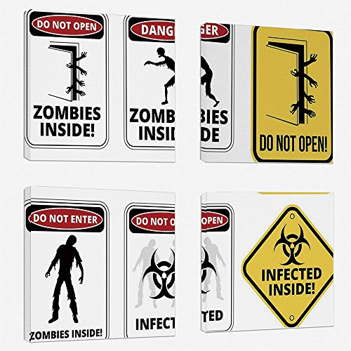 4 Pcs/set Modern Painting Canvas Prints Wall Art For Home Decoration Zombie Decor Print On Canvas Giclee Artwork For Wall DecorWarning Signs for Evil Creatures Paranormal Construction Do Not Open Artw by iPrint