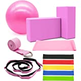 DALV 11 Pieces Yoga Set Beginner Equipment, Fitness Yoga Ball (10 inch) Yoga Blocks Stretch Strap Resistance Loop Bands…