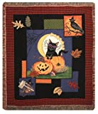 "Halloween Moon Jack-o-Lantern Tapestry Throw Blanket 50"" x 60"""