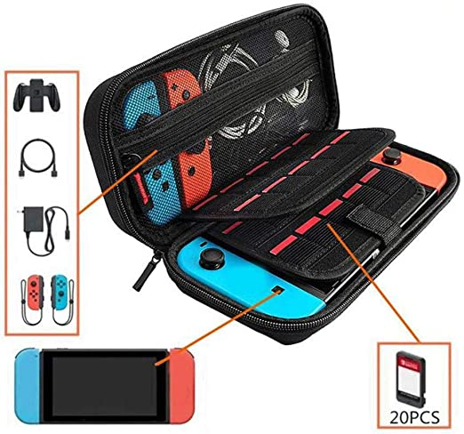 Womdee Carrying Case for Nintendo Switch, Protective Travel Carry Case Pouch for Nintendo Switch Console & Accessories, Dual Protection & Large Capacity: Amazon.es: Hogar