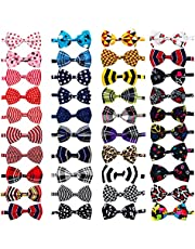 JpGdn 40pcs Small Dogs Bowties Bulk and Wholesale for Puppy Doggy Cat Rabbit Bunny Medium Dog Bow Ties with Polka Dots Checks Stripes Pet Neck Ties Adjustable Collar Neckties Grooming Accessories