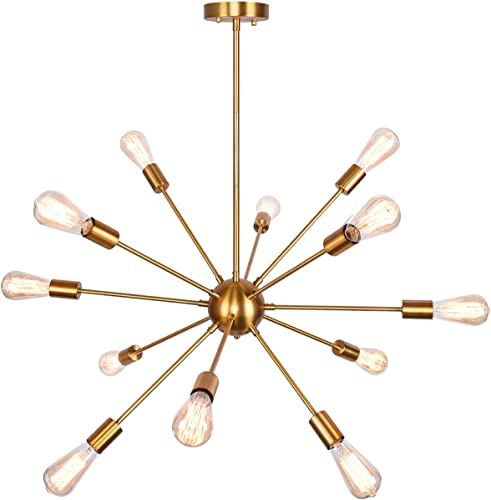 Merbotin 12 Lights Sputnik Chandeliers Mid Century Semi Flush Mount Ceiling Light Modren Hanging Lighting Fixture