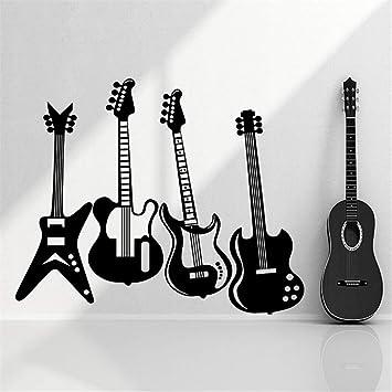 pegatinas de pared personalizadas guitarras eléctricas rock n roll para sala de estar dormitorio sala de música: Amazon.es: Bricolaje y herramientas