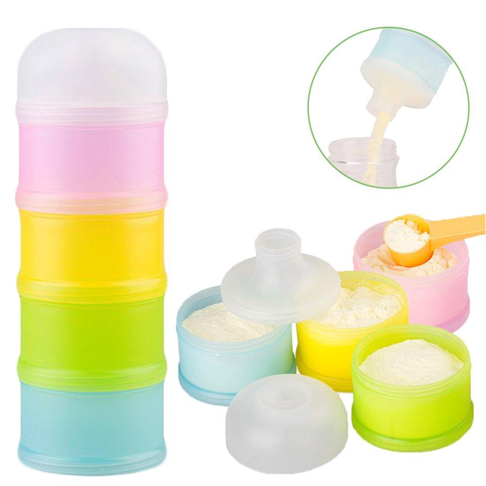 Formula Dispenser, Kidsmile Twist-Lock Stackable On-the-Go BPA Free Milk Powder Dispenser & Snack Storage Container - 4 feeds, no powder leakage by Kidsmile