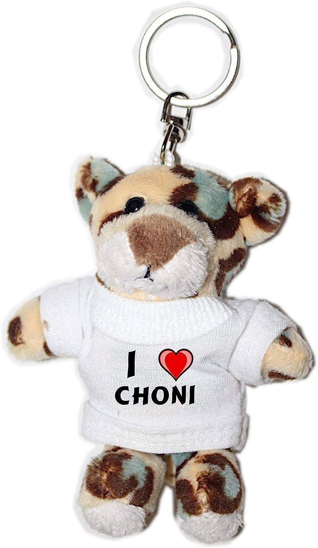 Leopardo de peluche (llavero) con Amo Choni en la camiseta (nombre ...