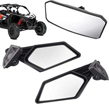 2 PCS UTV Side Mirrors 1.75 Inch Rear Side View Racing Mirrors Compatible for Can Am Maverick X3 Max Turbo 2017 2018 2019 2020