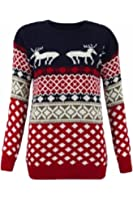 Made By PURL New Womens Retro Festive Xmas REINDEER Jumper Ladies Vintage Novelty Warm Knitted Tops Sweater Long Sleeve Party Top Pullover Size 8-26