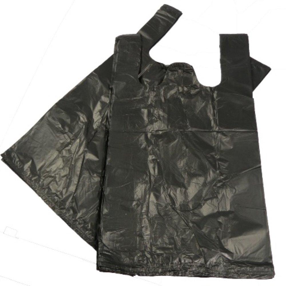 100 BLACK PLASTIC POLYTHENE VEST STYLE CARRIER BAGS - SIZE 11 x 17 x 21