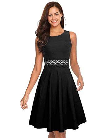 0ecc5560f5 GloryStar Women s Retro Cocktail Fit Flare Empire Waist Embroidery Wedding  Guest Dress for Party Sleeveless Black