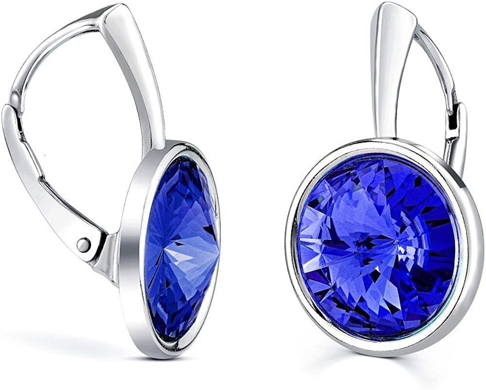 SILVEGO Pendientes de plata con Swarovski® Cristal de color zafiro azul oscuro