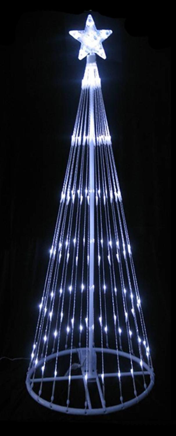 LB International 93838-12MO 12' Pure White LED Show Cone Christmas Tree Lighted Yard Art Decoration