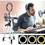 Makeup Ring Light with Stand 26CM Dimmable LED Ring Light with 3 Lighting Mode & 10 Level Brightness Tripod Stand & 270°Rotatable 2.56-3.15 Phone Holder M1/4 Connector USB Power