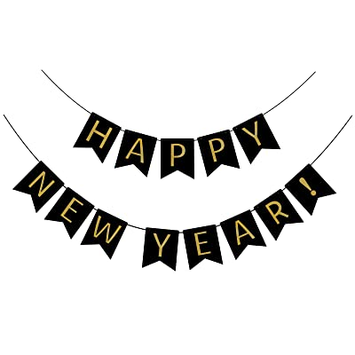 FECEDY Black Happy New Year Banner for Party Decorations: Toys & Games
