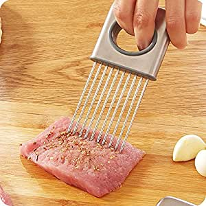 Easy Onion Holder Slicer Vegetable tools Tomato Cutter Stainless Steel Kitchen Gadgets No More Stinky Hands Aid Gadget Cutting Chopper comfortable oval handle