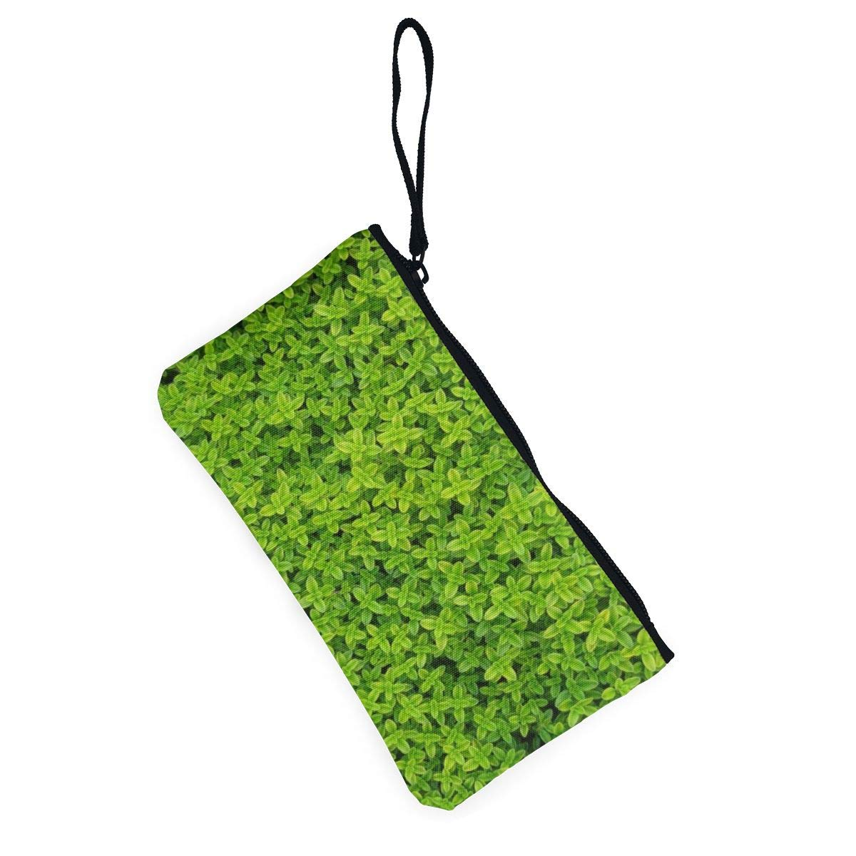 Canvas Cash Coin Purse,Leaf Nature Background Print Make Up Bag Zipper Small Purse Wallets