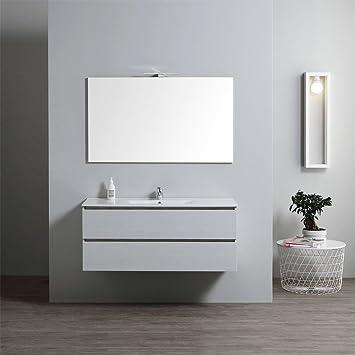Meuble Salle De Bain Avec Lavabo Integre 120 Cm Avec Miroir