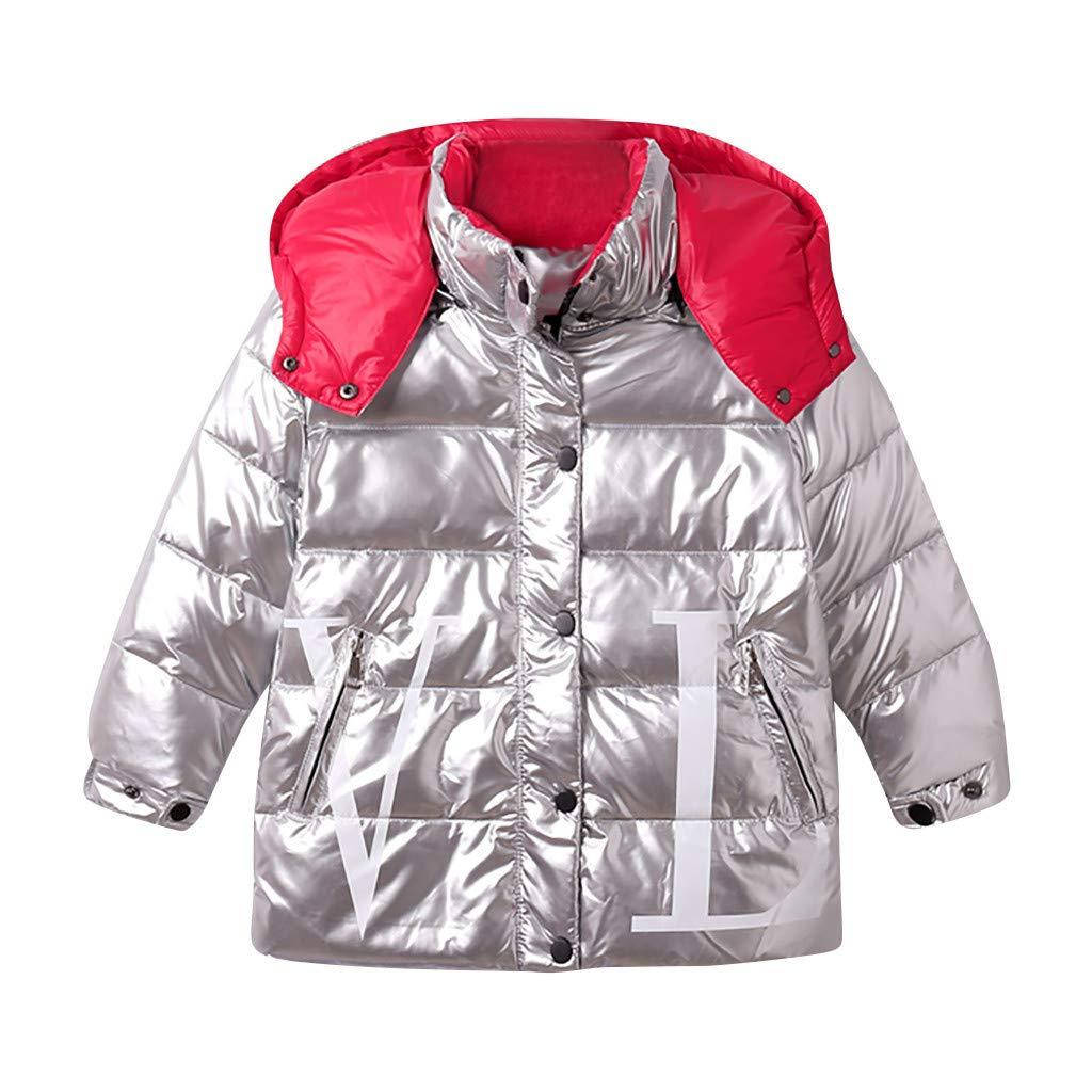 BFYOU Kids Girls Boys Winter Hooded Letter Waterproof Coat Jacket Overcoat Outwear Silver by BFYOU_ Girl Clothing