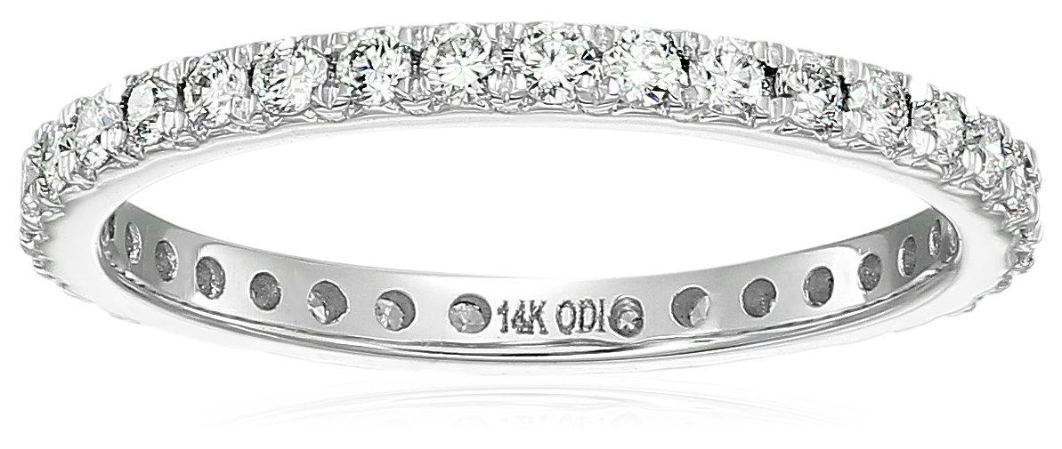 14k white gold diamond prong set eternity ring (1/2cttw, i color, i1 clarity), size 5