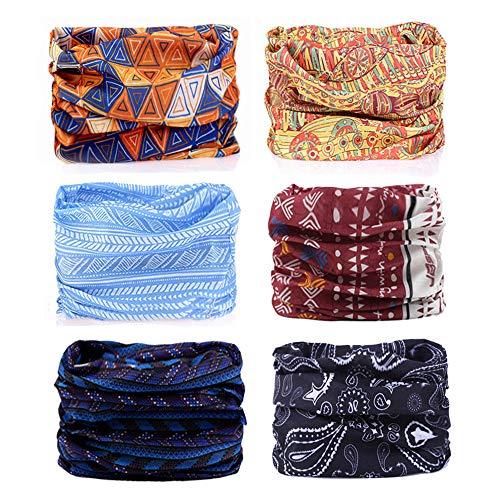 Godspeed Headwear, Headwrap 6-Pack Headband & Bandanna 16-in-1 Multifunctional Telescopic Seamless Scarf Facemask For Outdoor Leisure Activities (Bohemian Series)