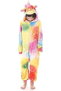 9887b6562e JYUAN Kids Soft Unicorn Onesie Animal Pajamas Halloween Cosplay Costume  Sleepwear Gift for Girls and Boys