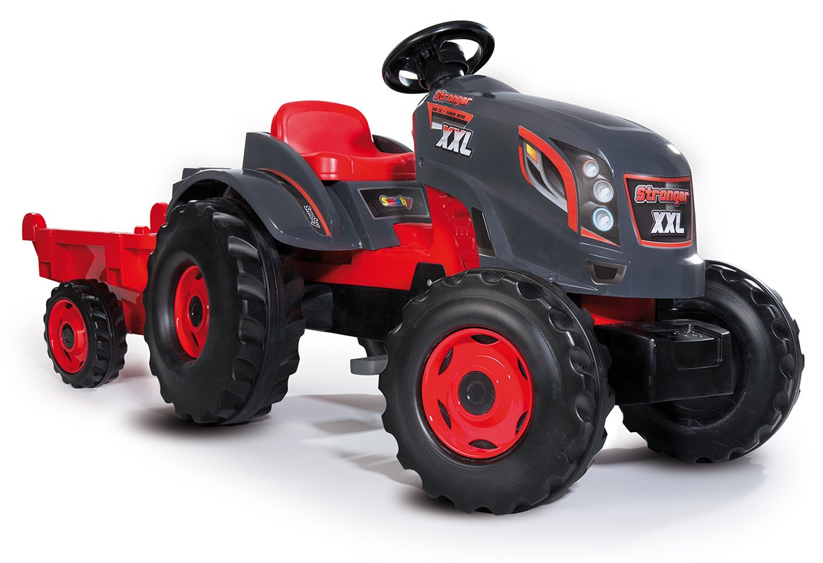 Rouge Si/ège Ajustable + Remorque Smoby 710200 Tracteur Stronger XXL