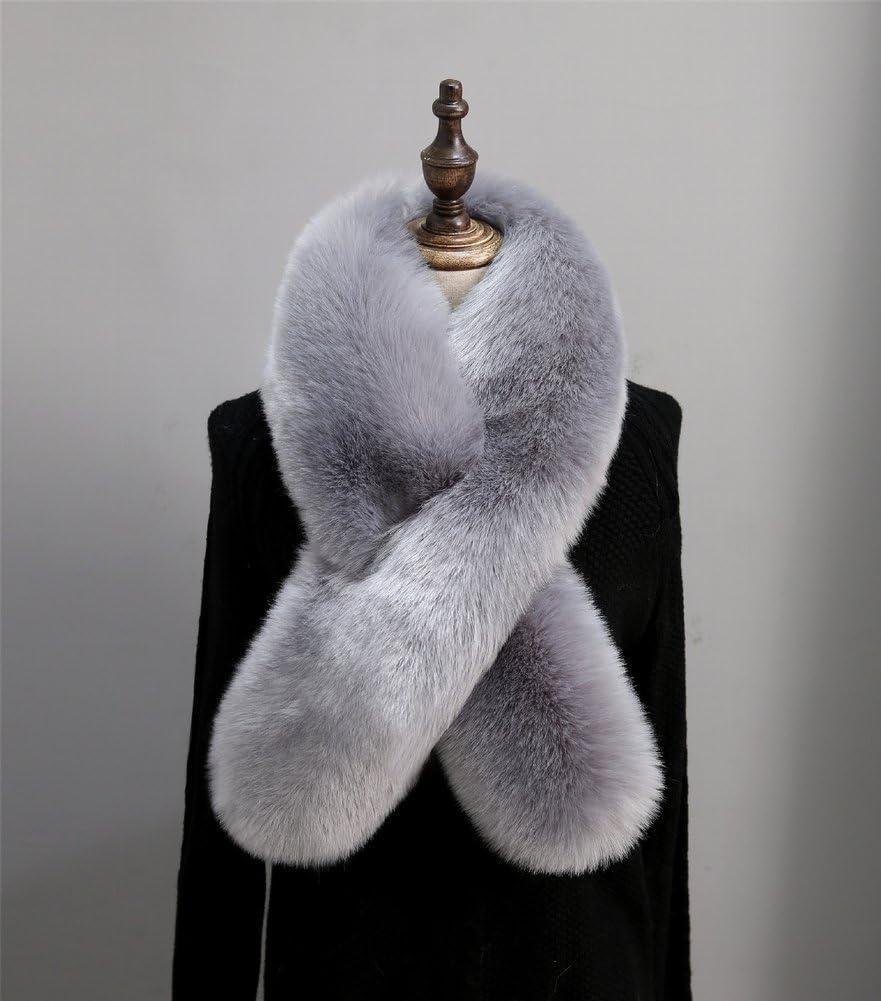 TYERY Bufanda de Peluche de Cuello de Piel de Invierno Cálido Femenino Cruz, Gris Oscuro