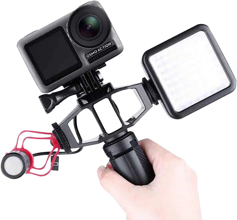 For DJI Osmo Action Vlogging Setup Bracket thing-ning Vlogging Setup Bracket with 2 Cold Shoe Mic Mount Tripod Adapter for DJI Osmo Action 4K Camera