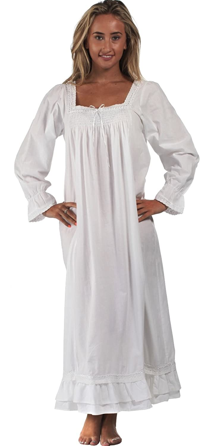 24f5178678 The 1 for U Martha Nightgown 100% Cotton Victorian Style - Size 4XL White  at Amazon Women's Clothing store: