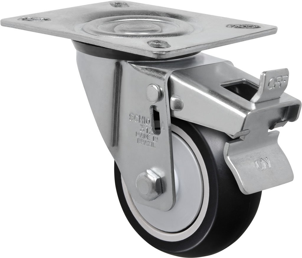 Schioppa L12 Series, GL 312 NPE G, 3 x 1-1/4'' Swivel Caster with Total Lock Brake, Non-Marking Polypropylene Precision Ball Bearing Wheel, 175 lbs, Plate 3-1/8 x 4-1/8'' (Bolt Holes 3-1/8 x 2-1/4'') by Schioppa (Image #1)