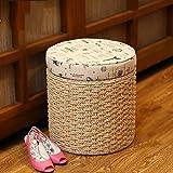 Handmade round beige entryway storage bench with patterned tops/Large storage bench/handmade Stool/Wooden chair/wedding gift