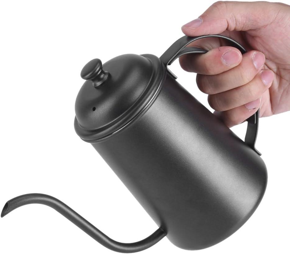 650 ml Hervidor de Agua de Acero Inoxidable Hervidor de Caf/é con Cuello de Cisne Hervidor de Agua Caliente Hervidor de T/é Olla de Goteo de Elaboraci/ón Casera Negro