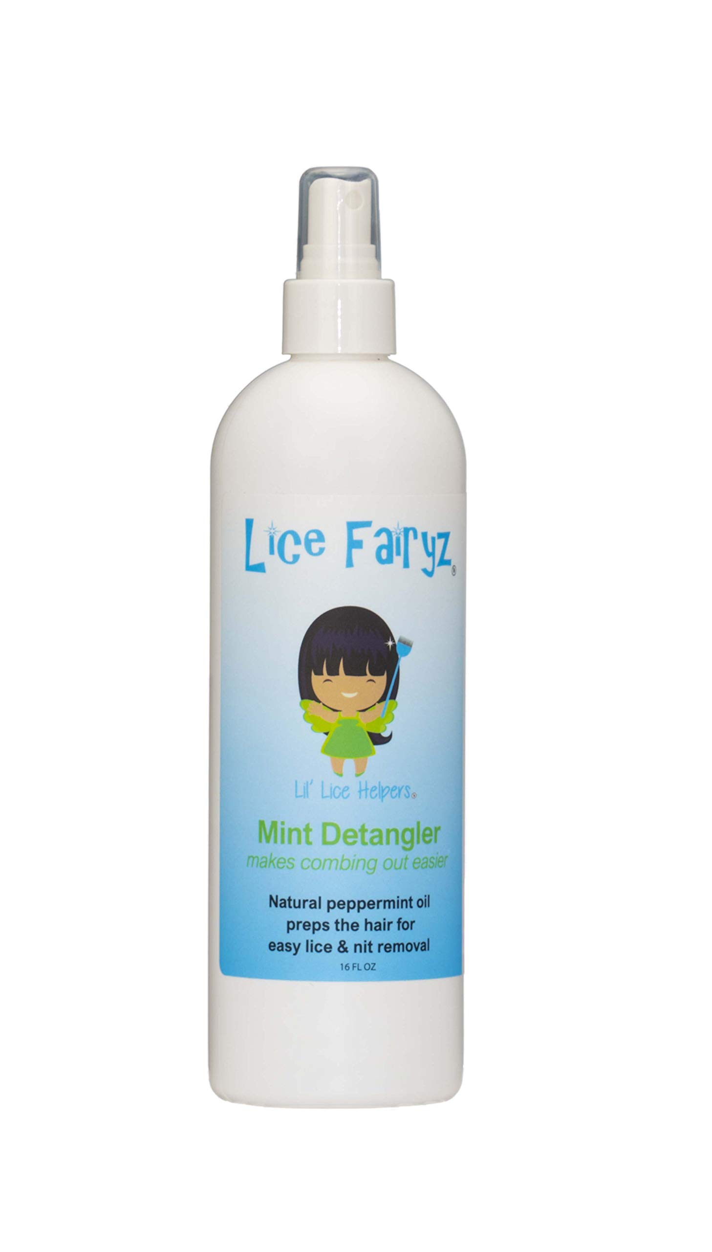 Lice Fairyz Mint Detangler Prepares Hair for Easy Lice Egg & Nit Removal & Naturally Prevents Lice Combines Detangling Conditioner w/Best Natural Method to Repel Lice Peppermint Essential Oils.