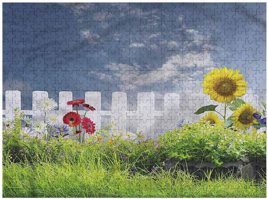 Interestlee Puzzles for Adults 500 Piece, Rustic Puzzles for Adults Daisy Flowers in Yard, Family Games