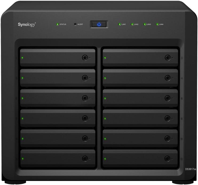 Synology DiskStation DS3617xs Ethernet Bastidor (2U) Negro, Gris NAS - Unidad Raid (96 TB, Unidad de Disco Duro, Unidad de Disco Duro, SSD, Serial ATA III, 8000 GB, 2.5/3.5